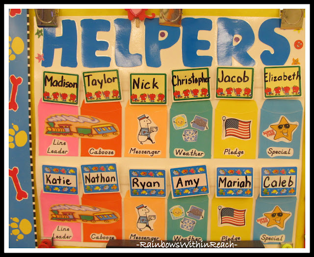 photo of: Kindergarten Helper Chart with Name Cards