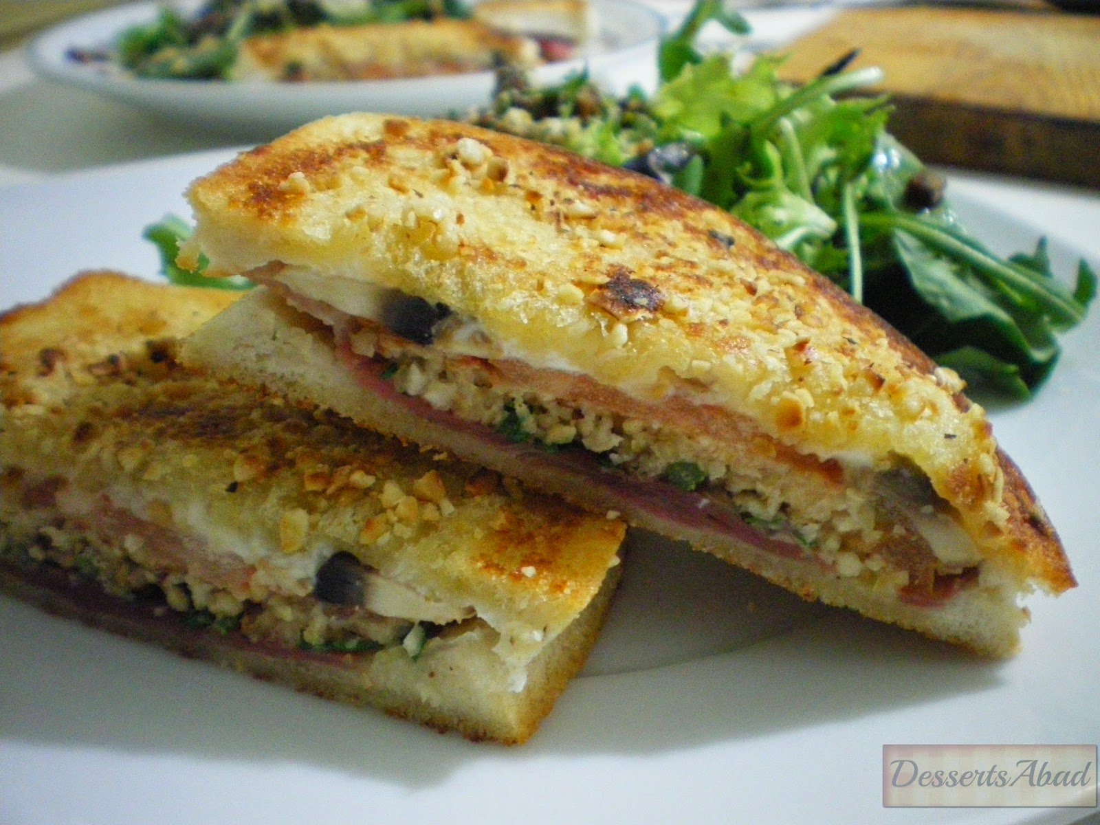 Sándwich de champis y avellanas