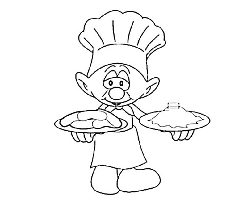 #8 Baker Smurf Coloring Page