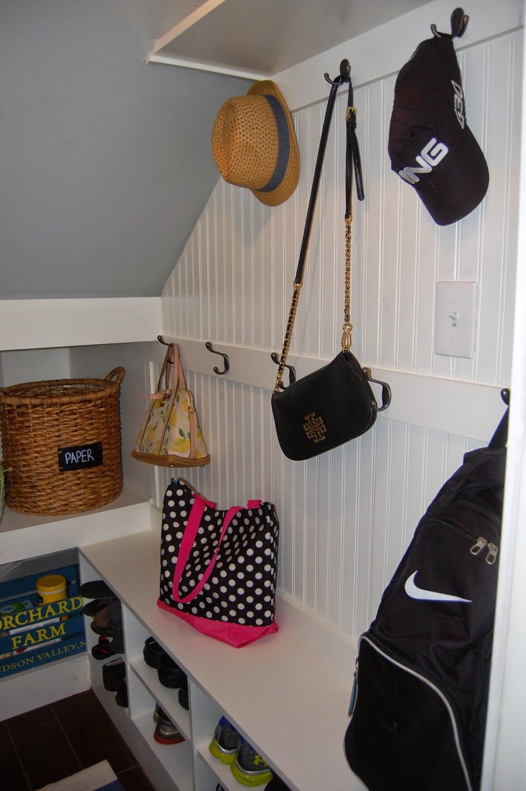 Mudroom Storage Under Stairs : Classic style home mudroom reveal