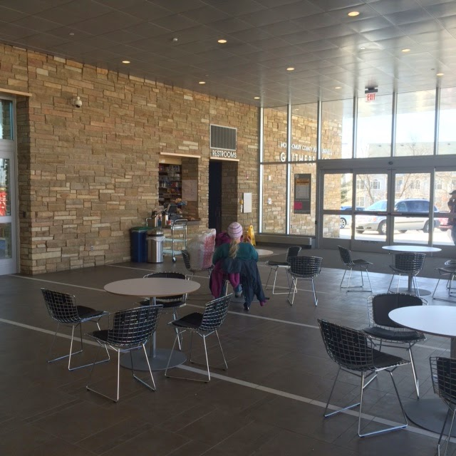 Gaithersburg Library foyer with cafe tables