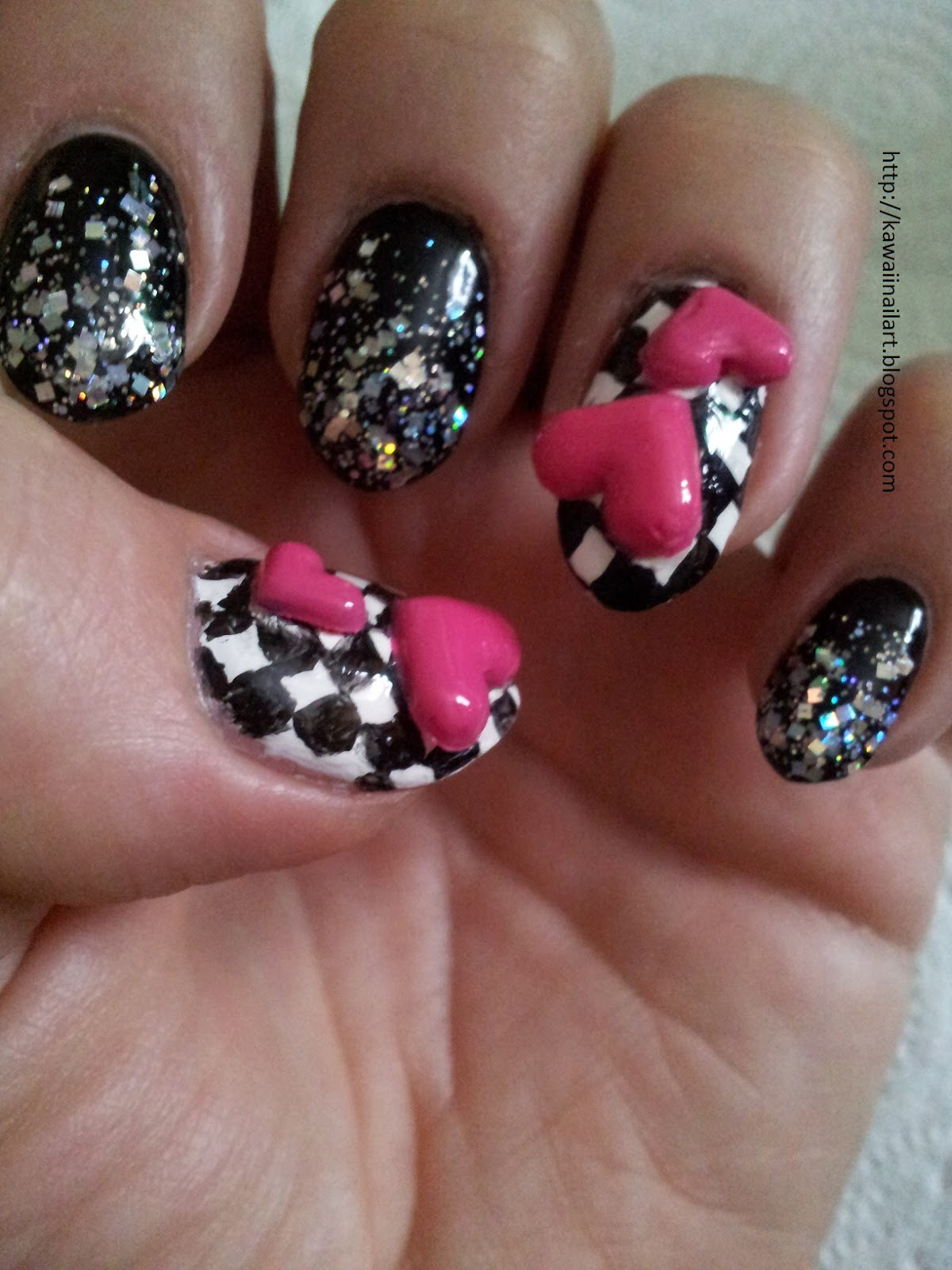 3d+nail+art+pink+hearts+black+and+white+chequer+board+nail+technician