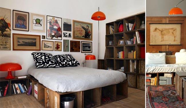 diseño interior en un loft con cajas de madera -cama matrimonial dormitorio