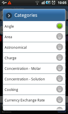 Android Unit Conversion Categories