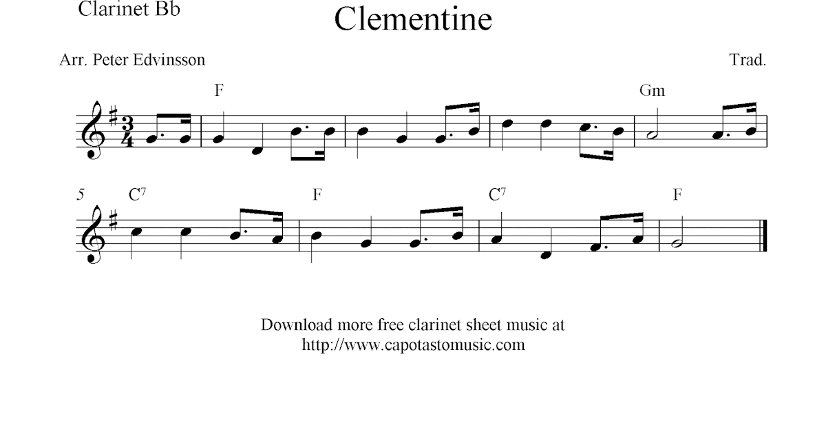 Oh My Darling, Clementine, free easy clarinet sheet music notes
