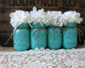 turquoise Mason jar centerpieces