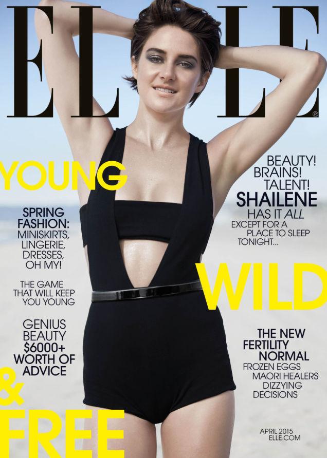 Shailene Woodley covers Elle April 2015 in a Balmain bodysuit