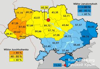 На фото: карта с результатами голосования 2004 года