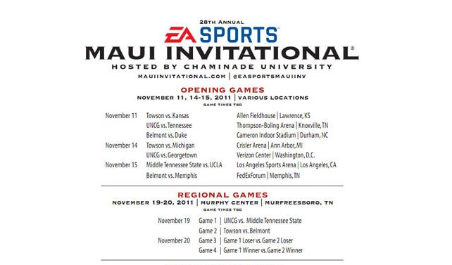EA SPORTS Maui Invitational 2011 Bracket Announced