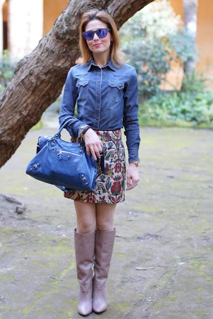 jeans shirt, Oakley mirrored sunglasses, Balenciaga city bag