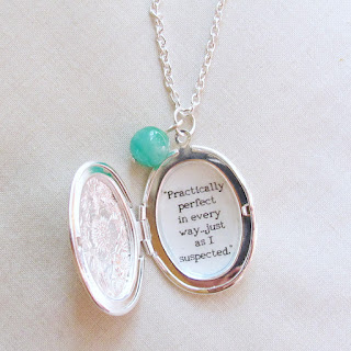 image mary poppins quote locket pendant necklace silver jade green vintage bead two cheeky monkeys practically perfect in every way...just as I suspected