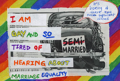 PostSecret postcard with rainbow background. Text reads: Im gay and so tired of hearing about marriage equality. Behind text, a car drives off with placard on back. Instead of just married, it says, Semi-married. A quote bubble coming out of the car says, It's boring and there are more important issues.