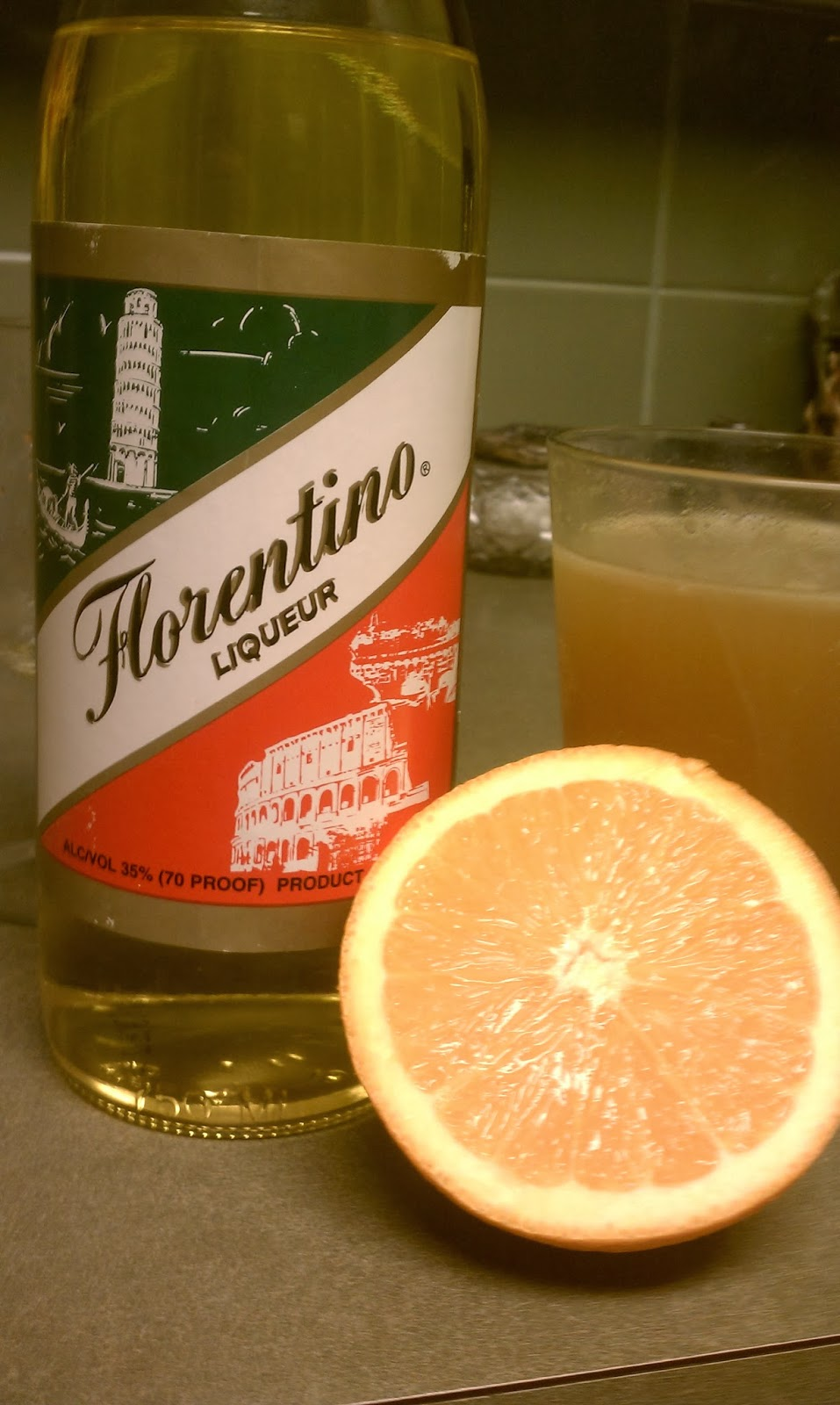 Florention Liqueur with orange juice and beer harvey weissbanger wallbanger variant