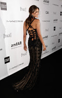 Alessandra Ambrosio in black embroidered lace gown with a corseted back