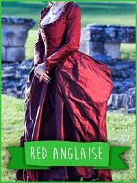 Robe à l'anglaise retroussée en soie rouge