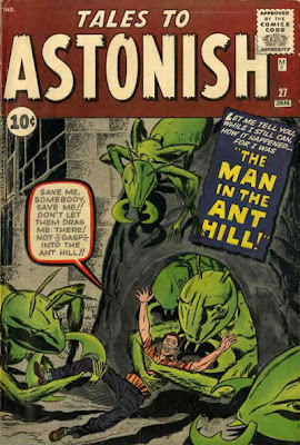 Tales to Astonish #27, first appearance Ant Man, ants drag helpless Henry Pym into an ant hill
