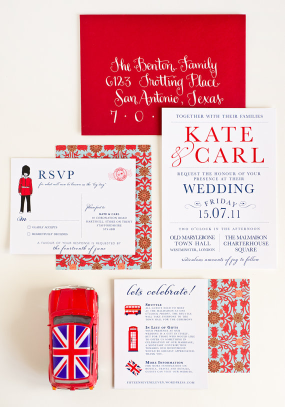 London Calling Wedding Invitation Collection by Jenn Herrington from