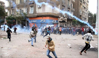 Tear gas in Tahrir Square