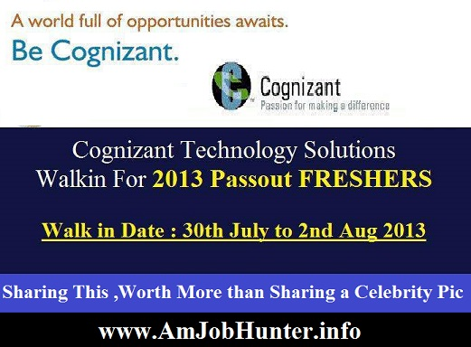 Cognizant walkin for Freshers