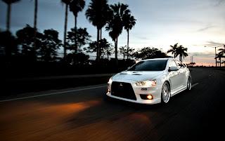 White Mitsubishi Evo Lights On HD Wallpaper