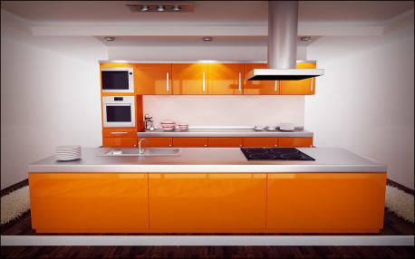Dapur Nuansa Orange Cipatakan Kesegaran