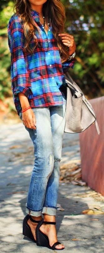 boyfriend`s jeans and shirt