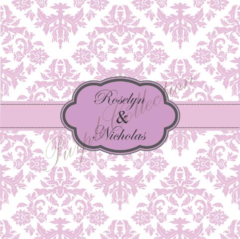 Square Card Floral Damask Design Wedding Invitation Cards, Square Card, Floral, Damask, Wedding, Invitation Card, Wedding Invitation Card, Roselyn & Nicholas, Roselyn, Nicholas