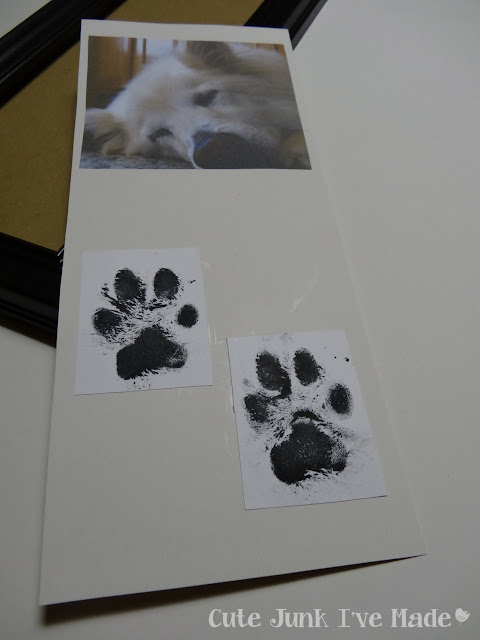 Puppy Print Memorial Frame - photo and pawprints on mat