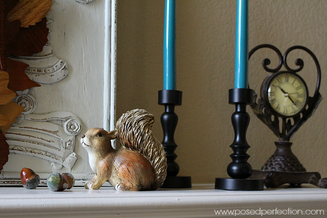 Old fall favorites set in front of some new textured background panels set the stage for this Simple Fall Mantel.