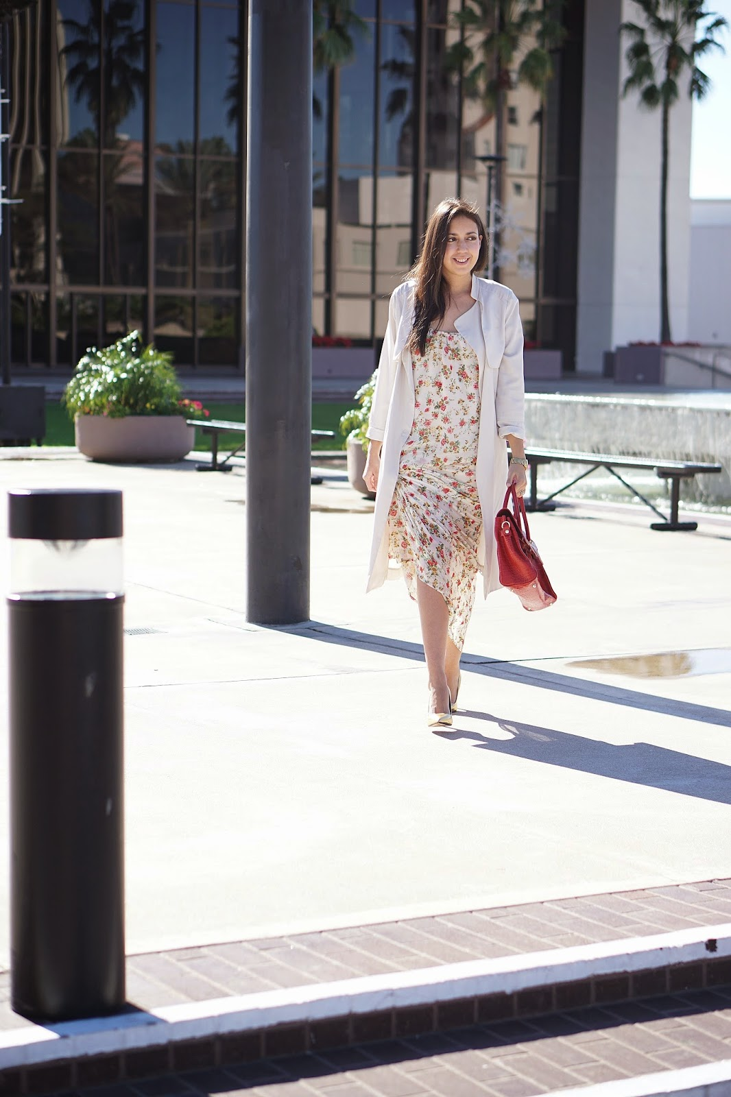 H&M trench coat, Trench Coat, Flowy Trench Coat, Beige Trench Coat, Floral Maxi Dress, MNG by Mango Maxi Dress, JCPenney Maxi Dress, Vanilla Paris Bag, Gold Heels, Zara Gold Heels, Zara Gold Pumps, Red Hermes Bag, Bertie Bag