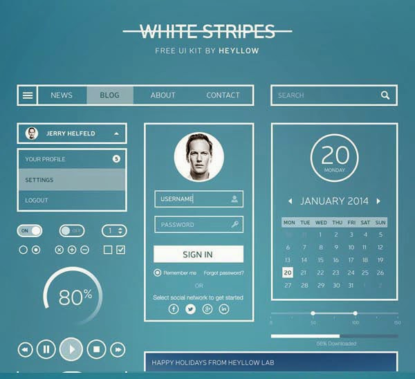 White Stripes UI Kit – Free PSD