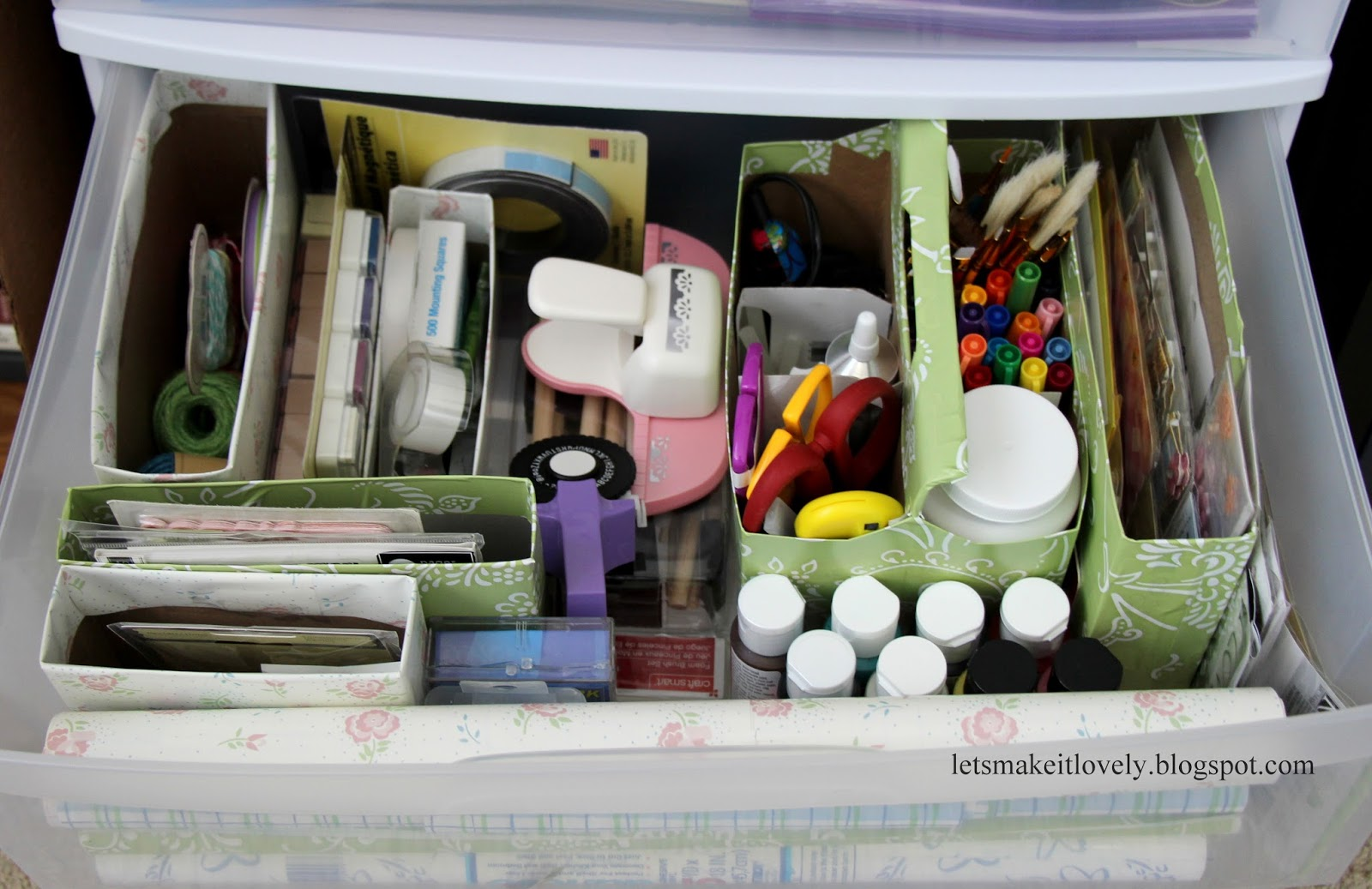 Reuse Six Pack Bottle Carrier and Cereal Boxes to Organize