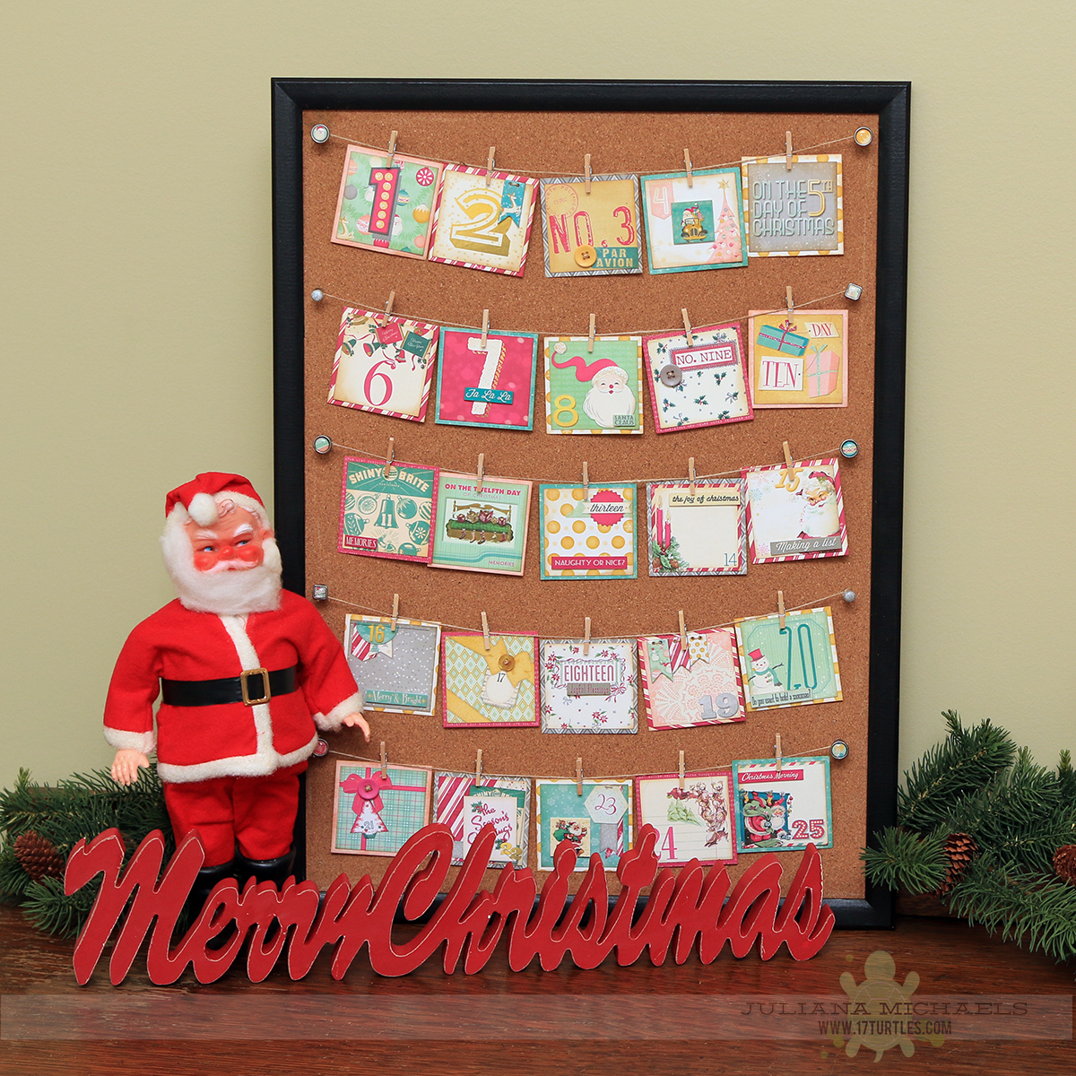 Christmas Countdown Calendar by Juliana Michaels featuring BoBunny Candy Cane Lane Collection
