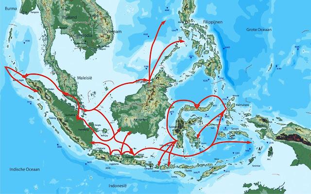 Peta jalur penyebaran Islam di Indonesia