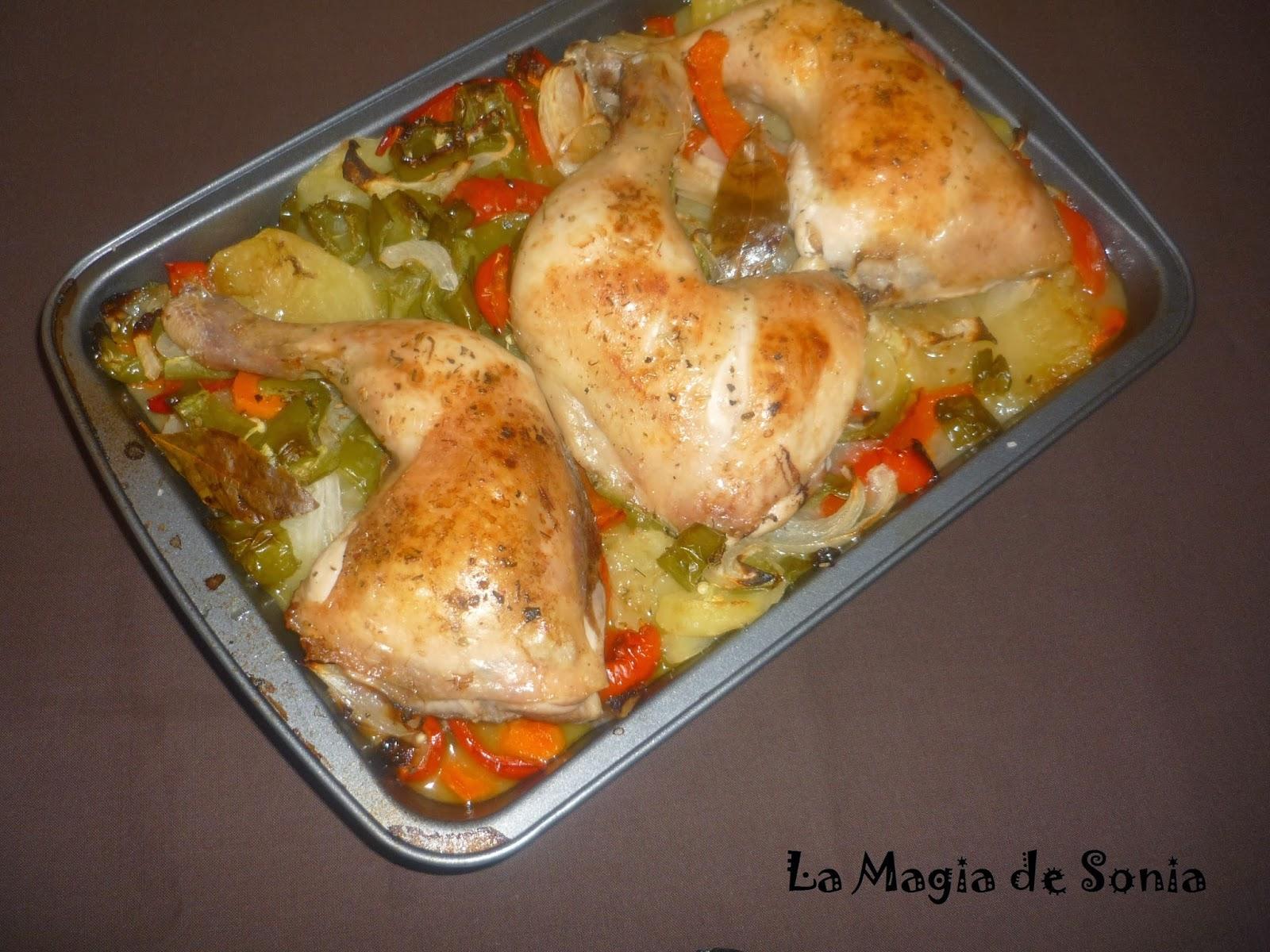 La Magia de Sonia: Muslos de pollo asado con patatas y verduras ...