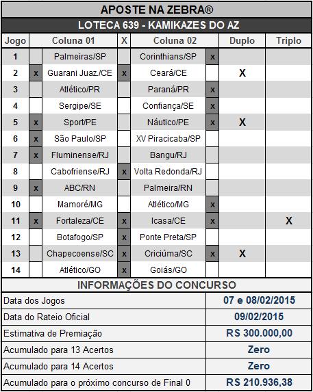 LOTECA 639 - KAMIKAZES DO AZ