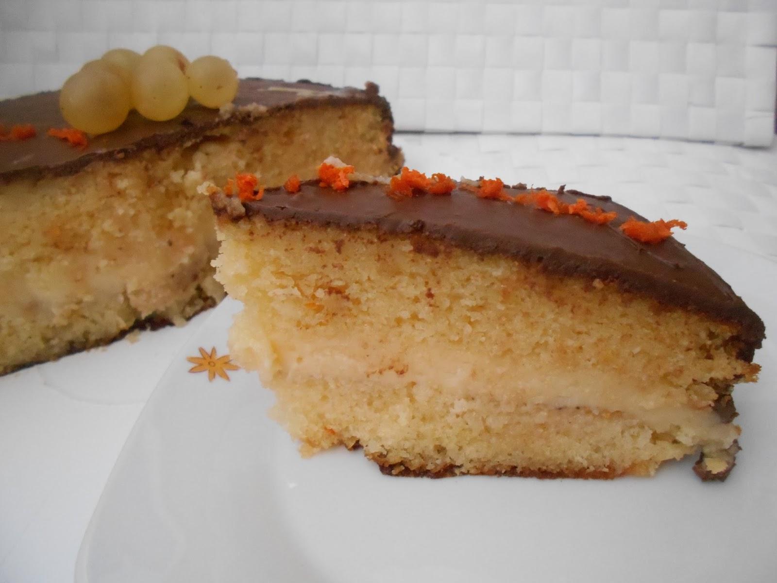 439 Receta Tarta De Chocolate Y Crema Con Bizcocho De Almendra Y  ~ Bizcocho De Almendras Esponjoso
