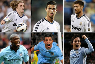 Modric, Cristiano Ronaldo, Alonso vs Toure, Aguero and Silva