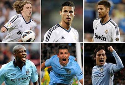 Modric, Cristiano Ronaldo, Alonso vs Toure, Aguero and Silva