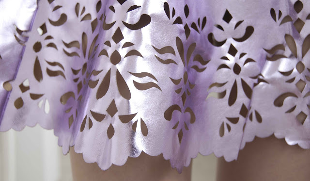Jandy, Missguided, lasercut, metallic, shiny, lilac