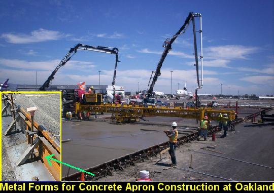 Metal Forms for Concrete Apron Construction at Oakland Airport