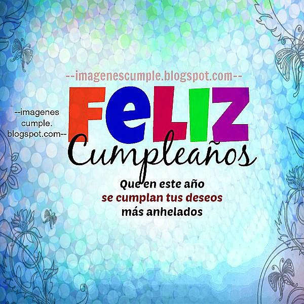 Imagen bonita de cumpleaños con un mensaje de felicitación para expresar buenos deseos de cumple. tarjeta de felicitación por Mery Bracho