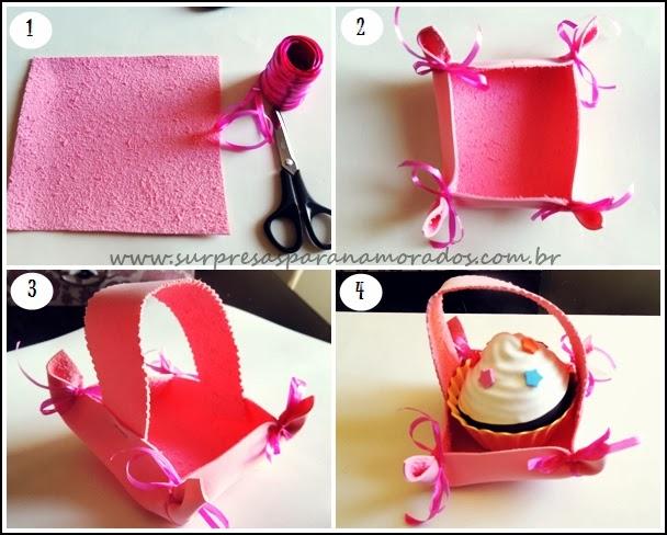 como fazer uma cesta com papel EVA