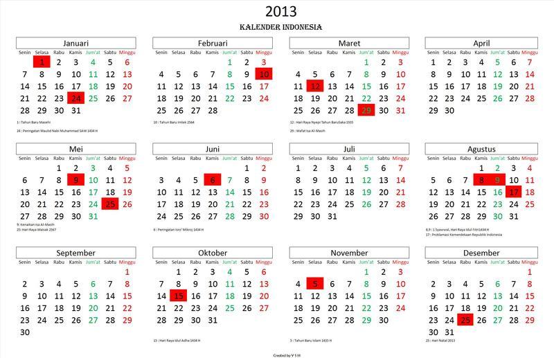 Daftar Hari Libur Nasional 2013