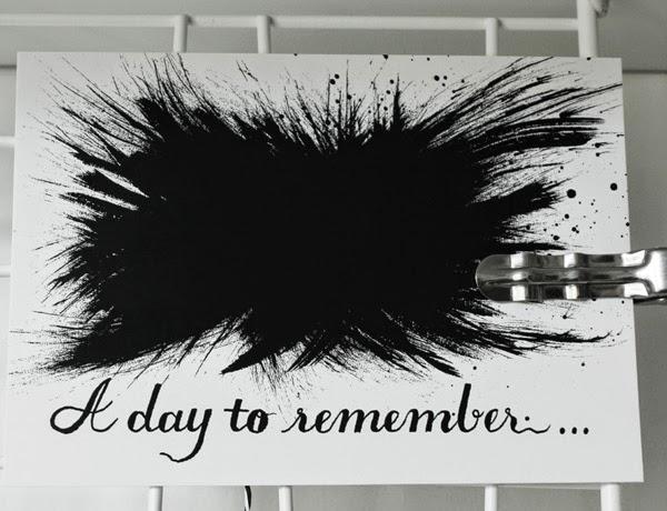 a day to remember, konsttryck, svartvitt, svartvita, tuschmålning, tusch, svarta, vita, vitt, vykort