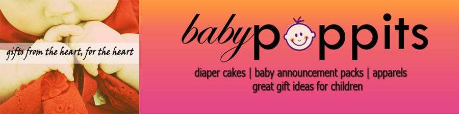 Babypoppits - Diaper cakes for baby shower and handmade gifts