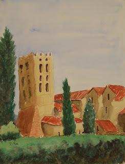 monestir,sant miquel de cuixà, watercolor,acuarela,aquarel·la,rmora,romanic,preromanic