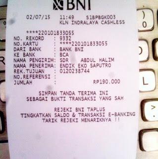 Bukti transfer ke rekening yang telah di sediakan enkosa sport oleh Halim/Yadi toko online enkosa sport toko clutch bag terpercaya
