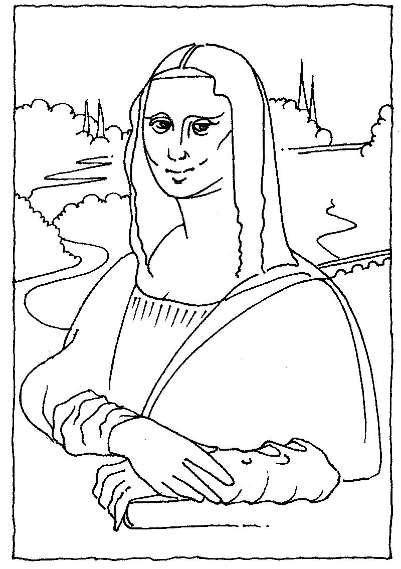 mona lisa coloring pages - photo#23