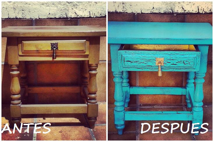 Diyvi rtete mesita vintage aguamarina for Colores vintage para muebles